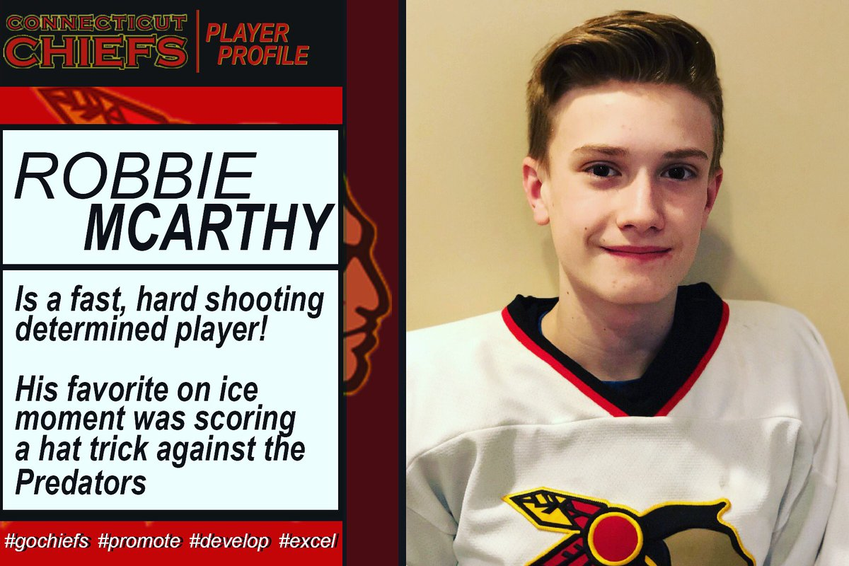 Robbie MCarthy , is a fast, hard shooting determined player! To him being a Chief means being a well rounded teammate both on & off ice.    His favorite on ice moment was scoring a hat trick against the Predators...#gochiefs #promote #develop #excel