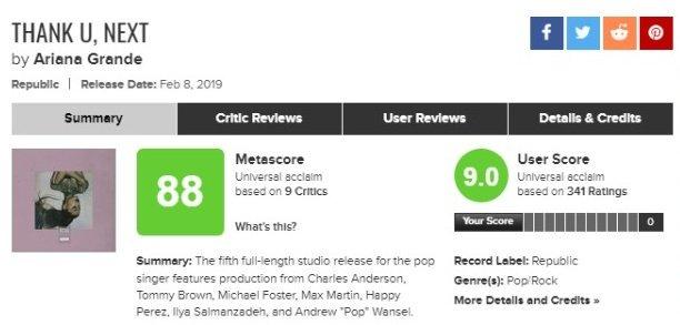 """Novas reviews são adicionadas ao Metacritic e o """"thank u, next"""" de Ariana Grande se consagra como o álbum mais aclamado do ano até o momento"""