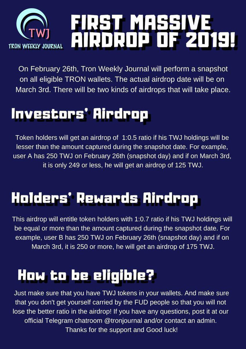 Have you ever thought about holding worthy tokens in one of the leading platforms? It's not too late! We're inviting everyone to join our first massive airdrop in 2019! This is your chance to buy some and get rewarded for it!   #TRON #Airdrop #TWJ