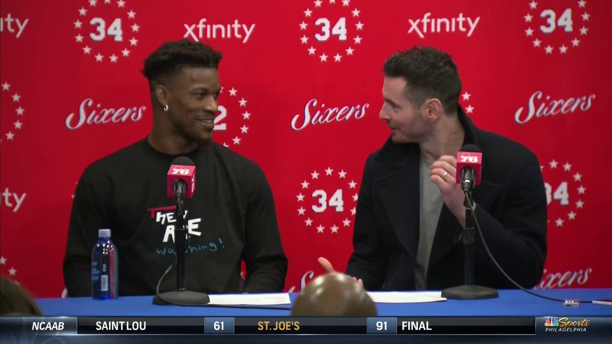 Jimmy wouldn't stop bothering JJ during the postgame presser. 😂