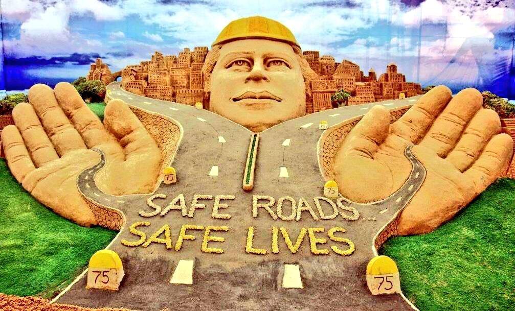 Road safety awareness week , I am sharing One of my SandArt on #RoadSafetyWeek