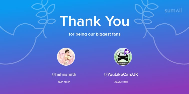 Our biggest fans this week: @hahnsmith, @YouLikeCarsUK. Thank you! via https://t.co/KrZAiBLzal https://t.co/tS10Y96Z8F