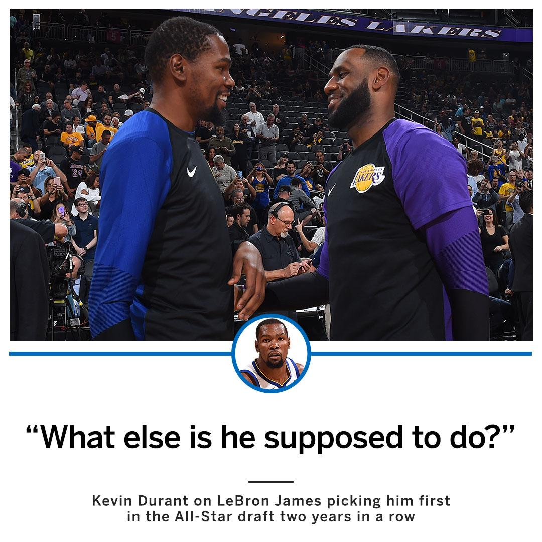 KD reacts to LeBron drafting him first for his All-Star team 2 years in a row ... https://t.co/h0xlo8LB0j
