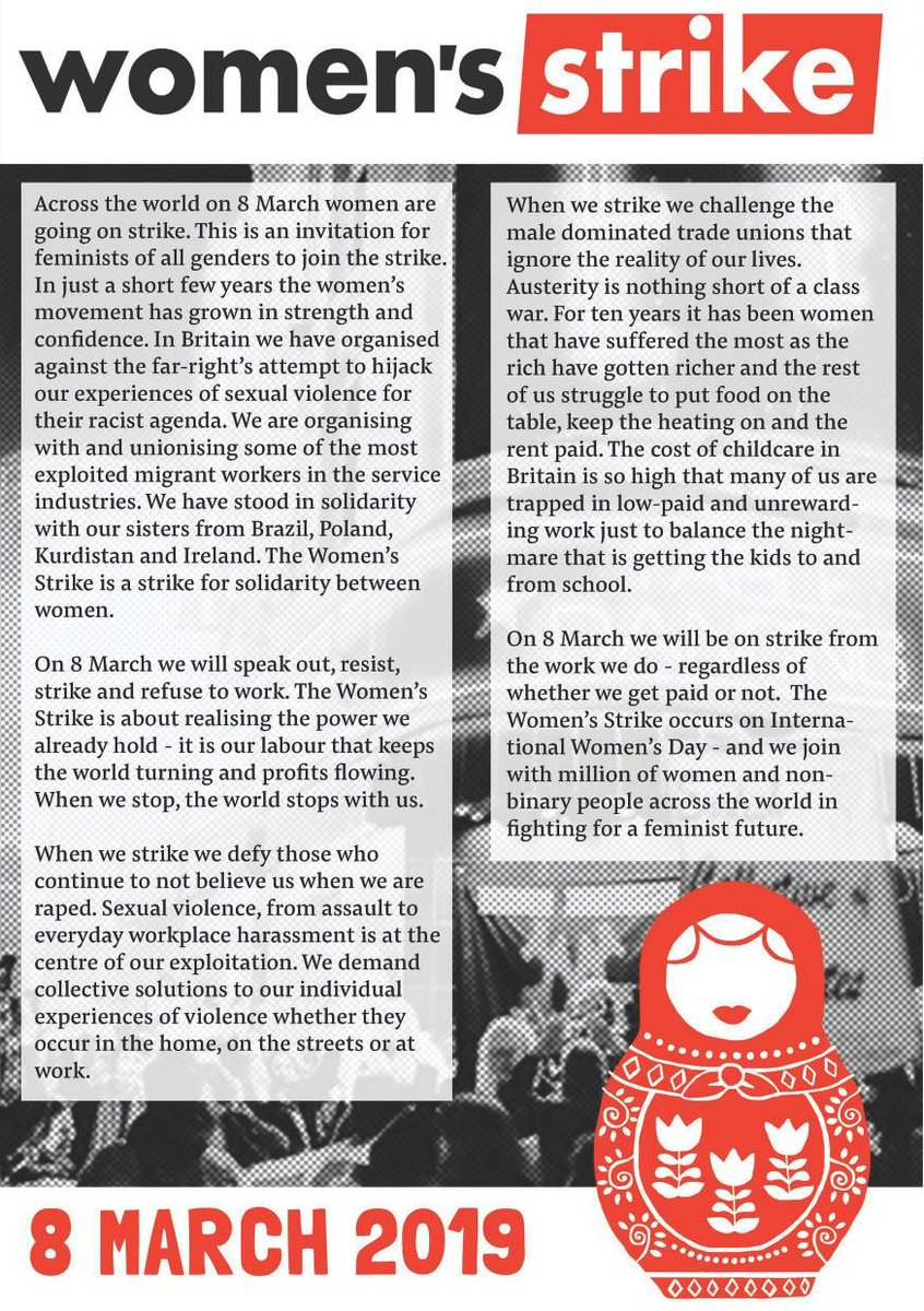 On 8 March, women across the world will go on strike. We strike in solidarity with women and non-binary people across the world, fighting for a feminist future. Our labour keeps the world turning and profits flowing. When we stop, the world stops with us. #8M #WomenStrike