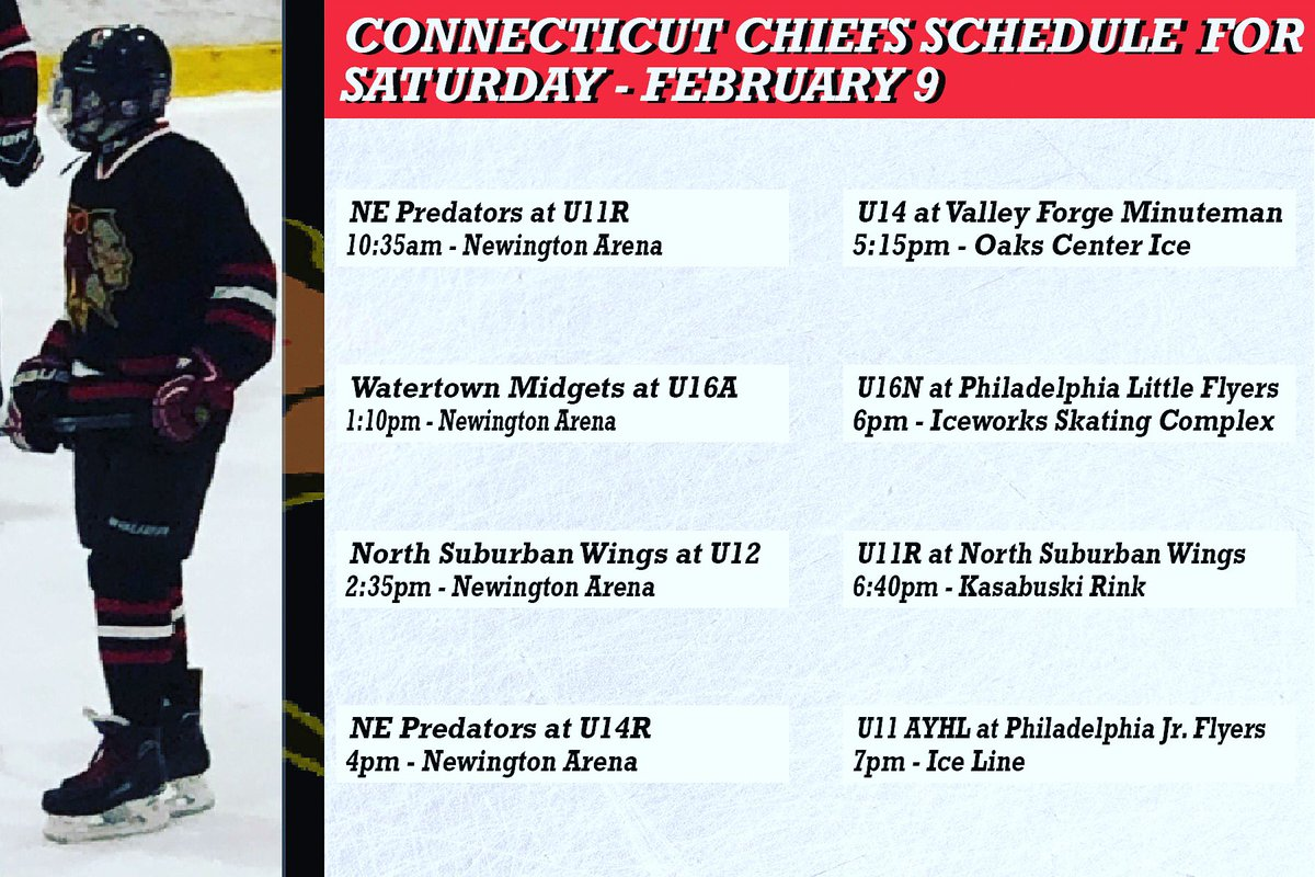 It's game day, Our CT Chiefs schedule for today February 9...make sure to catch one of the many CT Chiefs teams playing Saturday...#gochiefs #promote #develop #excel . . . #goctchiefs #ctchiefs #connecticut #icehockey #hockey #travel #hockey #travelhockey #saturday #gameday