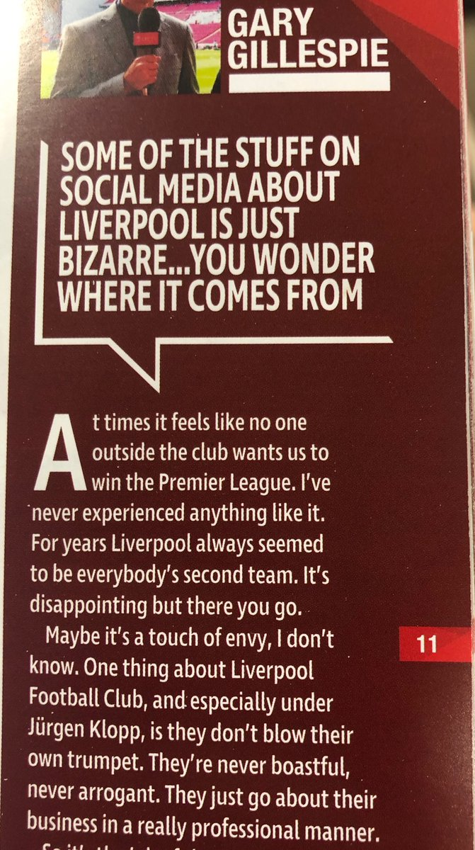 Gary Gillespie addressing the rise of the 'anyone but #LFC' brigade in today's programme