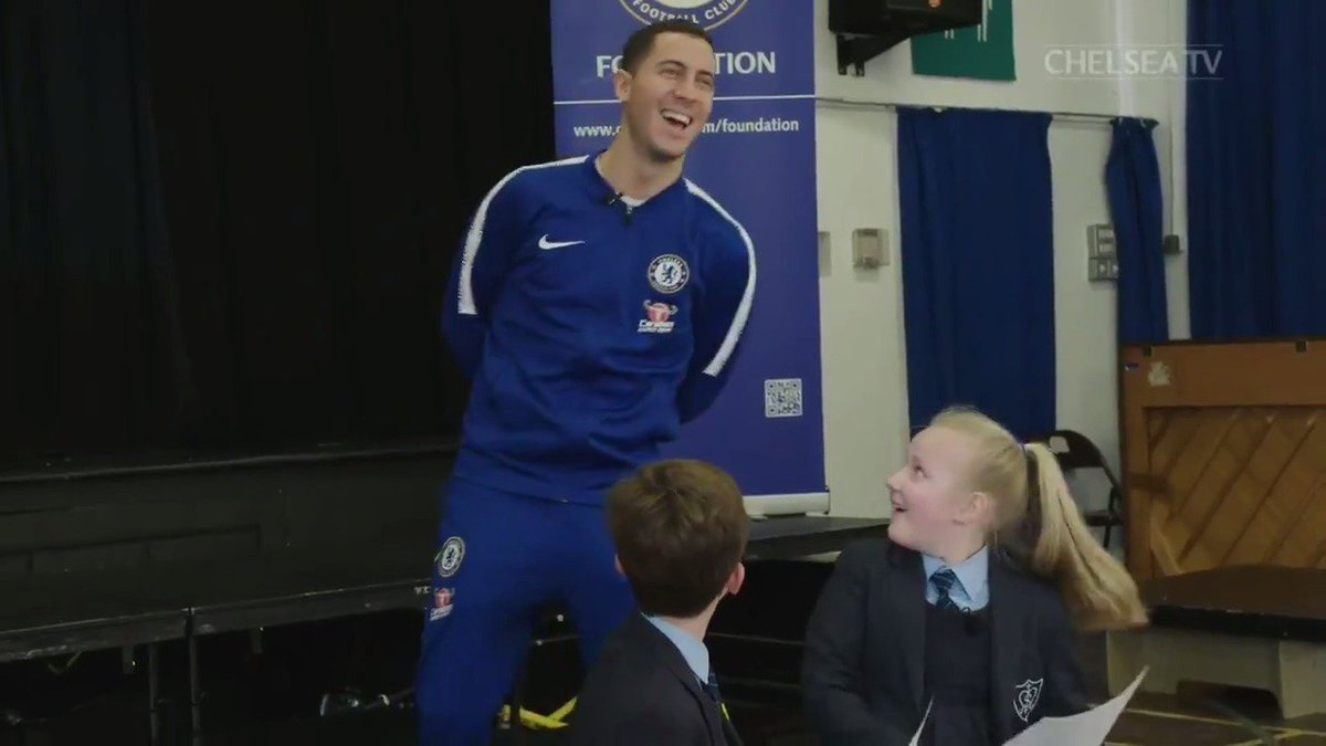That reaction! 😅  Watch @hazardeden10 make a surprise appearance at a local primary school...