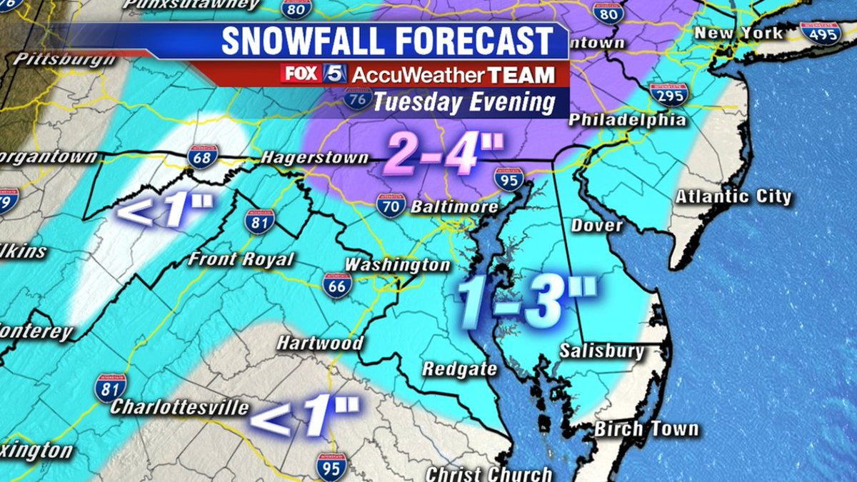 Wintry mix of snow, rain and sleet expected for DC region Tuesday https://t.co/W8dRXWmPFD @MikeTFox5 #fox5weather