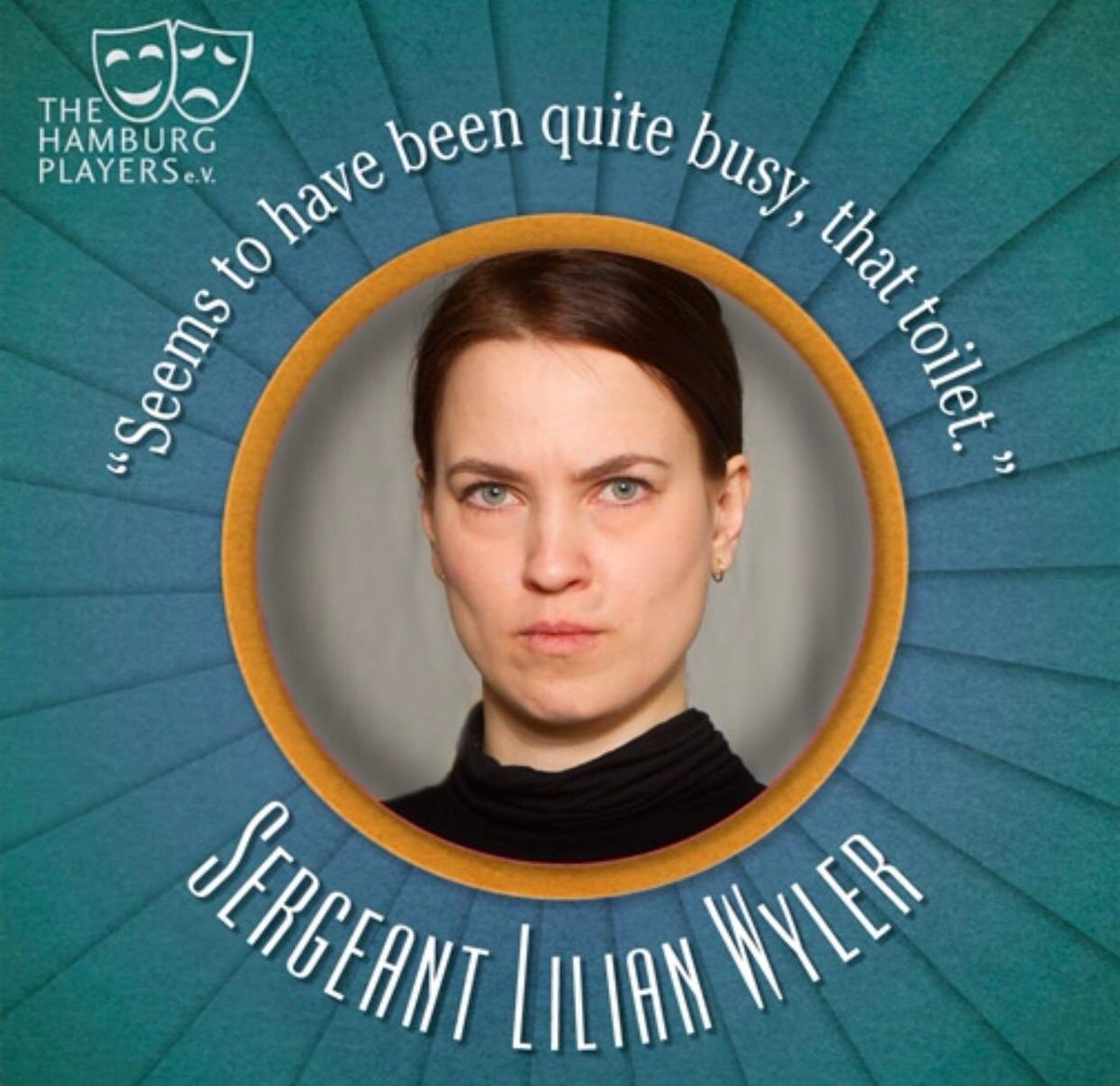 """Matter of fact! Meet Sergeant Lilian Wyler, who mixes both seriousness and humour in single statements all while trying to find out exactly what has happened in """"Death in High Heels"""" http://www.hamburgplayers.de  #theatre #theatrical #theaterinhamburg #thehamburgplayers #englishpic.twitter.com/8J7d7TW6MG"""