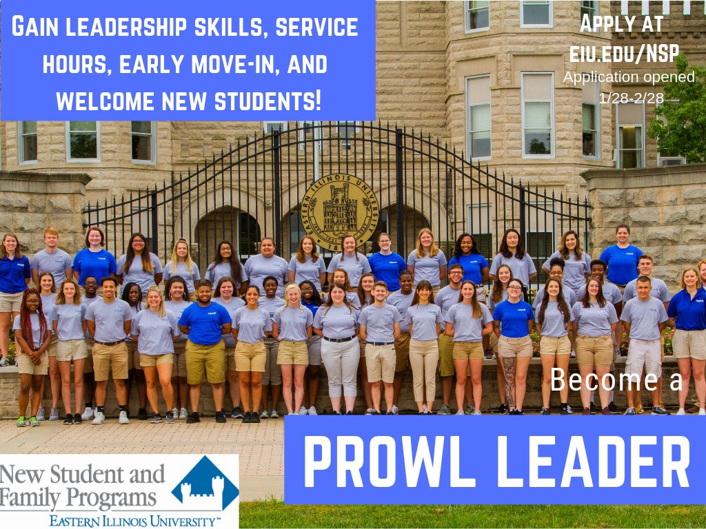 Hey Panthers! Are you interested in becoming more involved on campus? Do you want to be part of an EIU tradition? Apply to be a Prowl Leader! Application are open 1/28-2/28. Follow the link to the application!  http://ow.ly/XrkH30nueyN