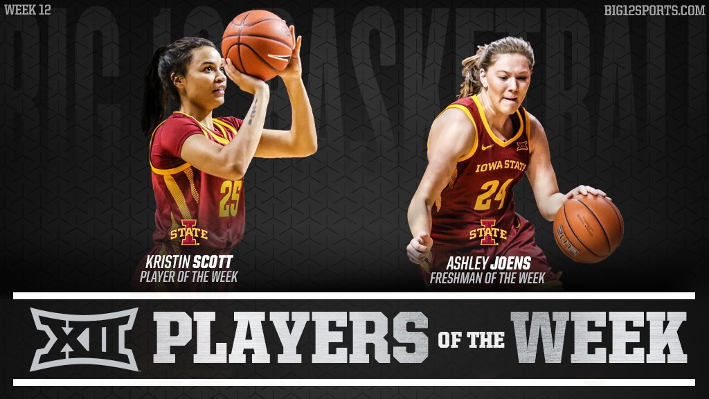 Week 12 of #Big12WBB:  🏀 Scott: became the first autonomy conference player since at least 1999-00 to score 31 or more pts and connect on 11-of-11 from the field. 🏀 Joens: scored 17 pts, corralled 7 rebounds, and shot 50% from the field at OSU.  More » https://big12.us/2sSiW8Q.