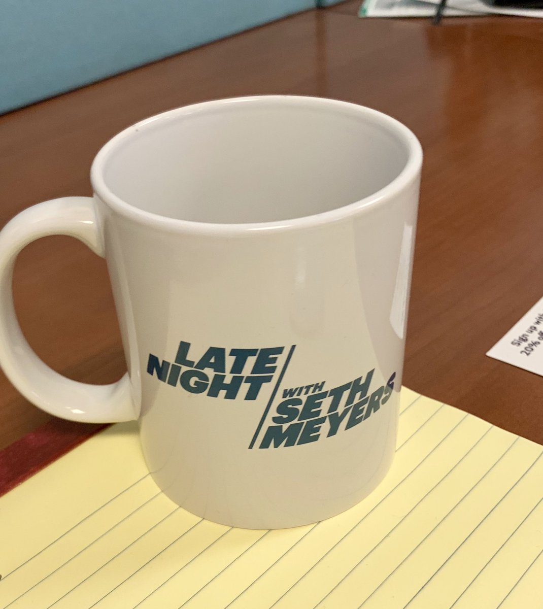 [whispers] hi hello me work as a writer at @LateNightSeth now!!!!!!!! 💕💓 (here is a mug to prove it)