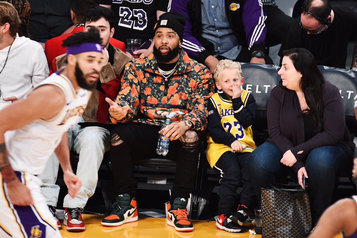 OBJ at the Lakers vs. Suns game wearing