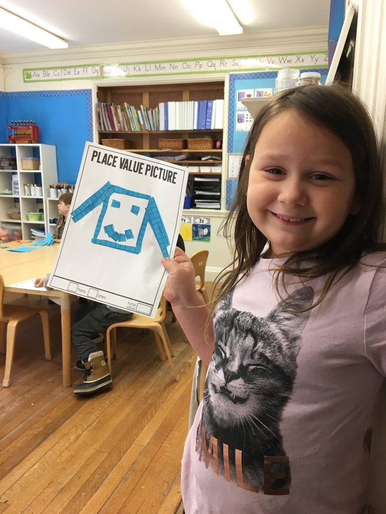 """""""I made me!"""" #PlaceValuePicture #KeepLearningFun #SmilesForMiles #AndKittyMakes3 @brimmerandmay – at Brimmer and May School"""
