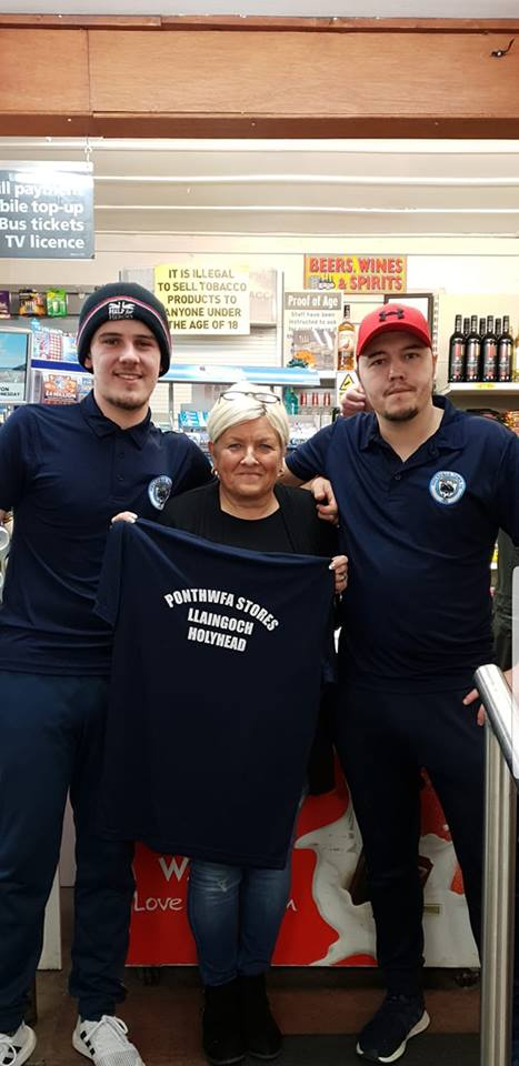 We would like to thank Ros and Alan for sponsoring our new polo shirts, Ponthwfa Stores, Llaingoch have supported Holyhead Town FC since day 1 of the resurrection.