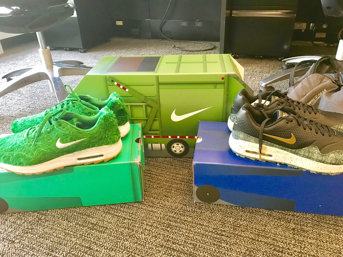 388a7d08b9 the new green camo and shredded dollar entries to the nike air max 1 golf  line