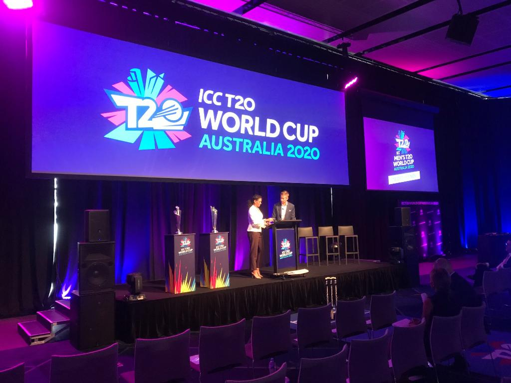 The stage is set in Sydney for the Women's and Men's fixtures to be announced for the #T20WorldCup!   We're in safe hands with hosts @meljones_33 and @MarkHoward03 - tune in to our Facebook page to find out the fixtures LIVE from 10am AEDT!