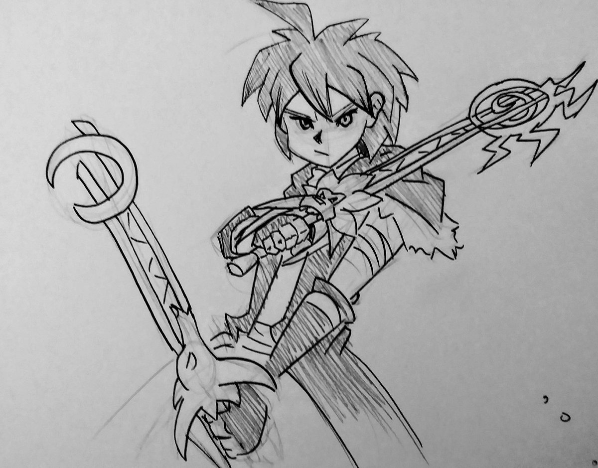 So while waiting for #KH3 to load on my ps4 I sketched out an old #KHoc of mine from like 10 years ago xD and now like the rest of the KH fans I shall go dark!  Bwahahahaaa