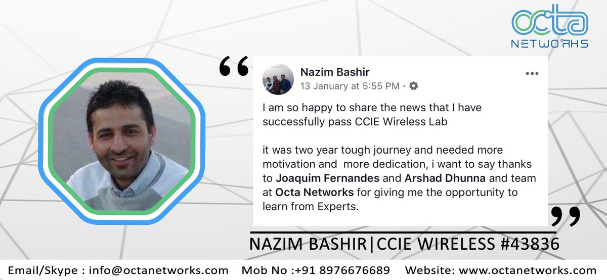 Mr  NAZIM BASHIR Shares his Review about CCIE Wireless v3 1