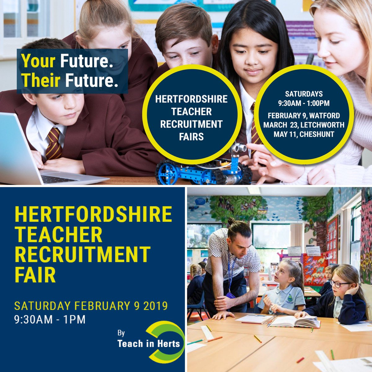 Are you a qualified teacher looking for a new job? ✅ Do you want to meet schools with vacancies face to face? ✅ Then come along to our #Hertfordshire Teacher Recruitment event on Sat 9th Feb in #Watford  Find out more & register your attendance today at: https://t.co/24ttJQKzVo https://t.co/4wIHYKin1n