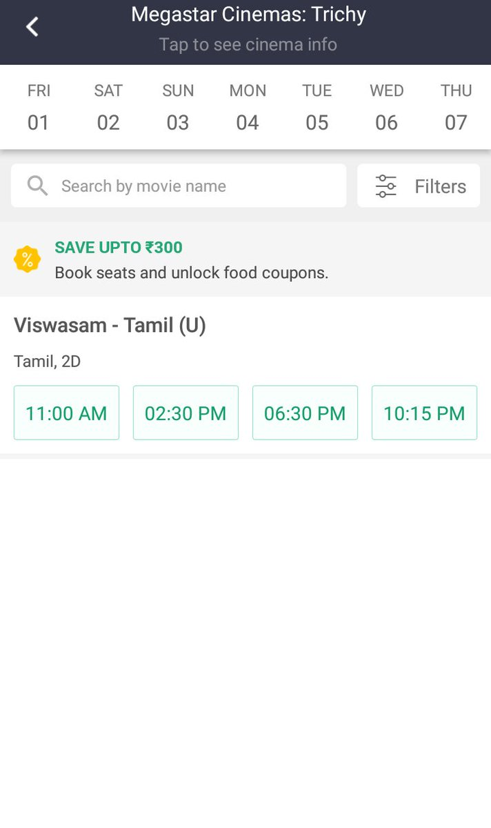 #Viswasam Good theatre occupancy in weekdays too  Trichy Mega star theatre opened their booking slot up to February 7   Best and Dream run for  #ThalaAjith&#39;s Movie  #ATBBViswasam <br>http://pic.twitter.com/pnbmiCecuh