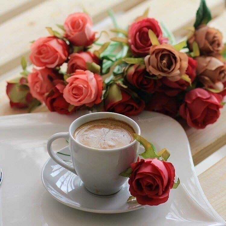 Открытка доброе утро цветы и кофе, малыши