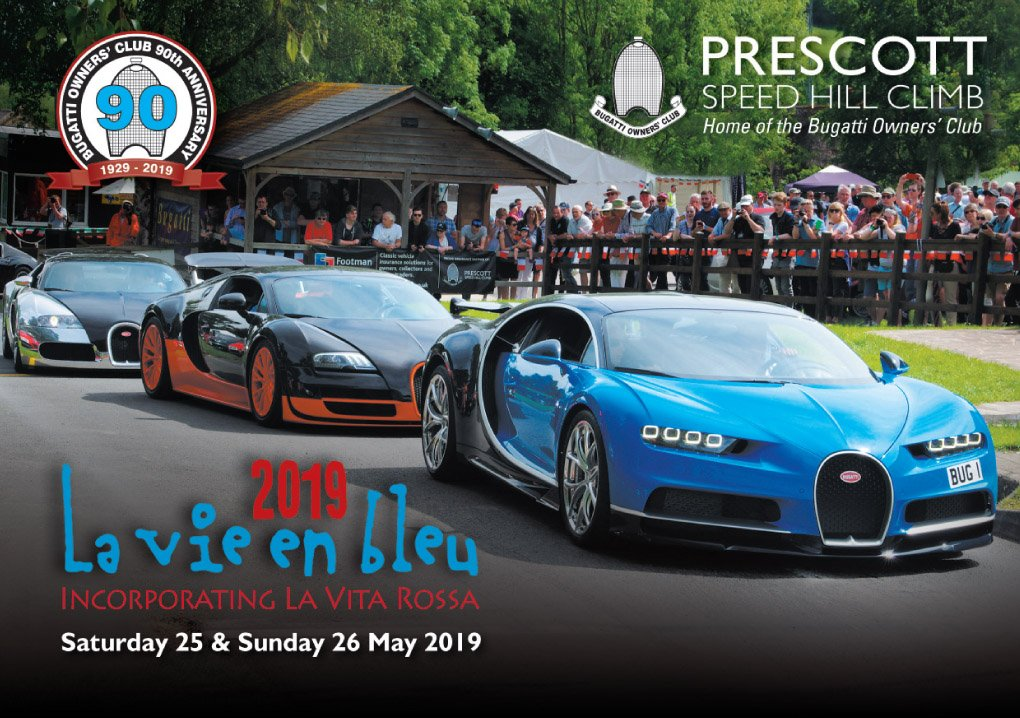 This year La Vie en Bleu/La Vita Rossa (25-26 May 2019) will coincide with the 90th Anniversary of the #Bugatti Owners' Club. Many historic Bugatti's from around the world will make a pilgrimage to #Prescott Advance tickets now available. https://www.prescott-hillclimb.com/events/tickets/la-vie-en-bleu-2019…