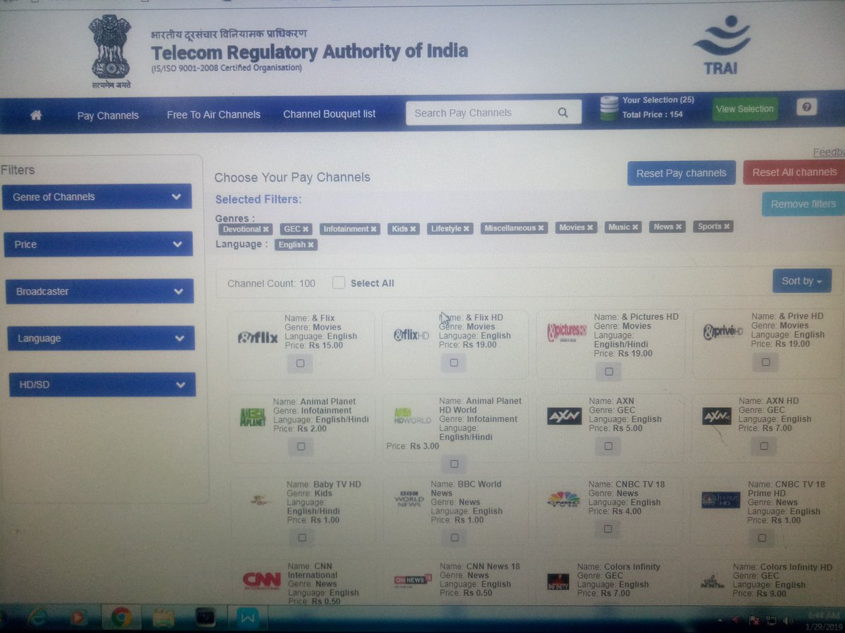Have you selected your channels?? Visit @TRAI  https://channe.tri.gov.in/index.html