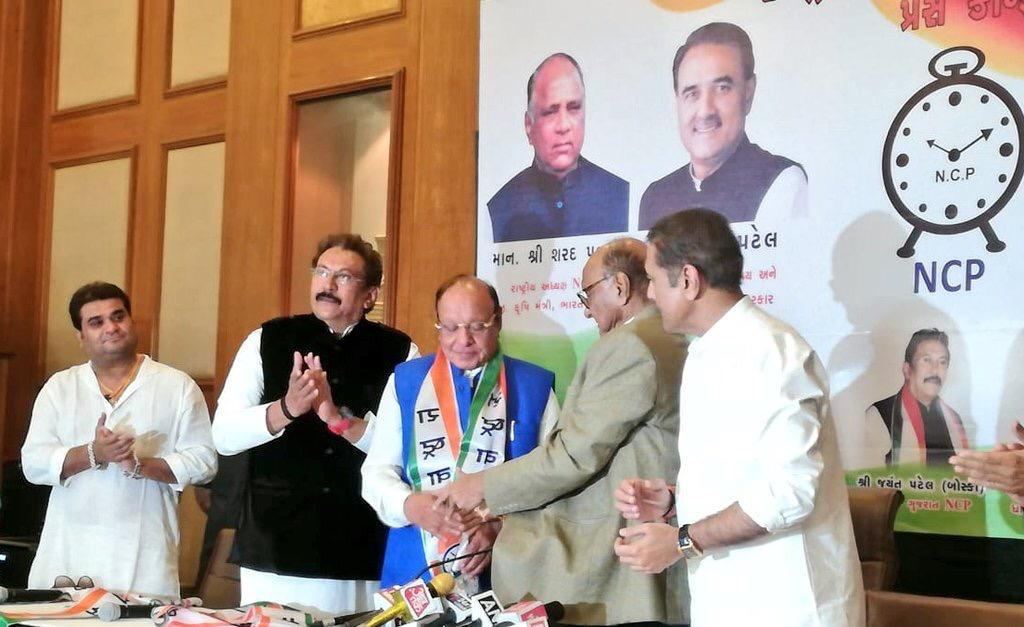 Shankersinh Vaghela joins NCP in presence of Sharad Pawar in Ahmedabad