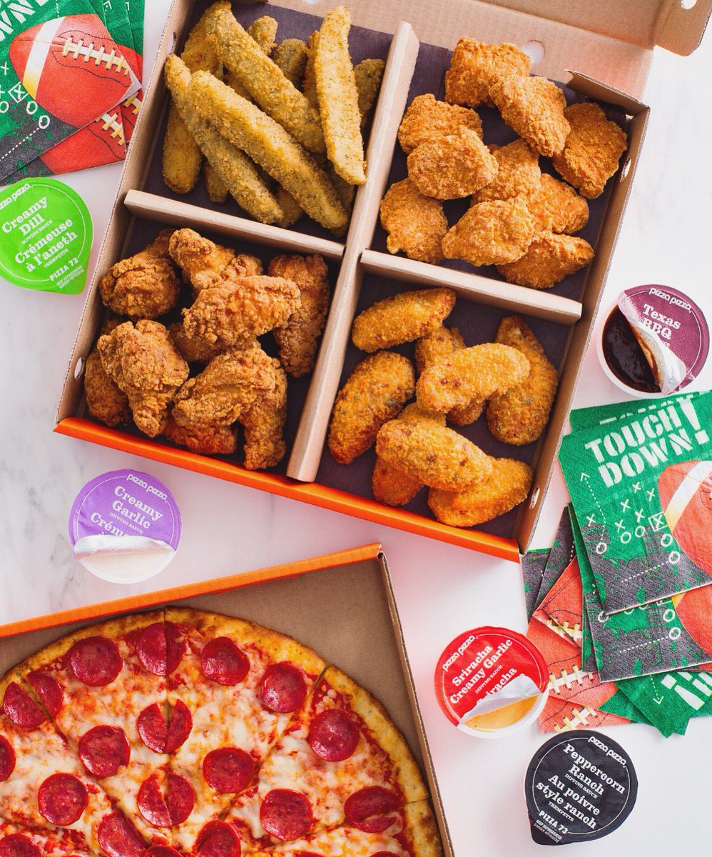 BIG GAME, BIG SPREAD. RT & follow for a chance to win a $100 gift card for the ultimate Game Day pizza party! 🏈#PizzaPizzaBigGame