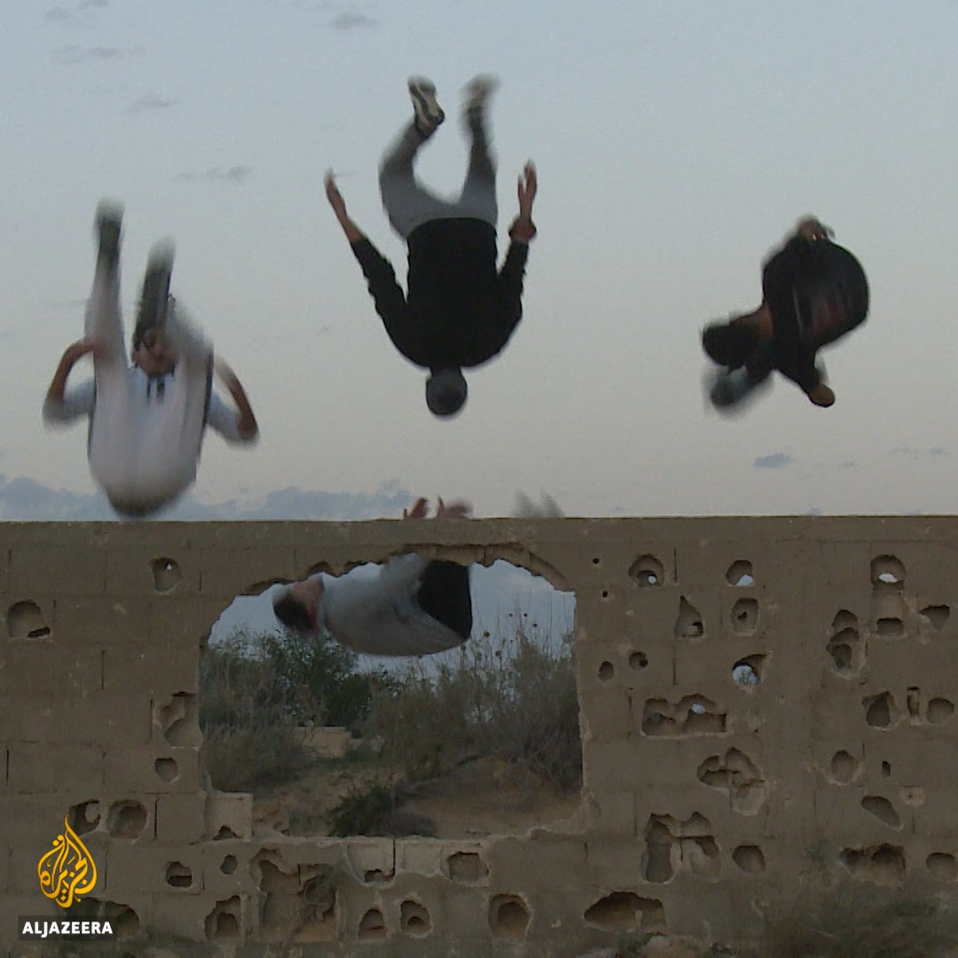 """Parkour takes us away from Israel's siege.""  Young Palestinians in Gaza are practicing parkour to help cope with Israel's 12 year blockade on Gaza."