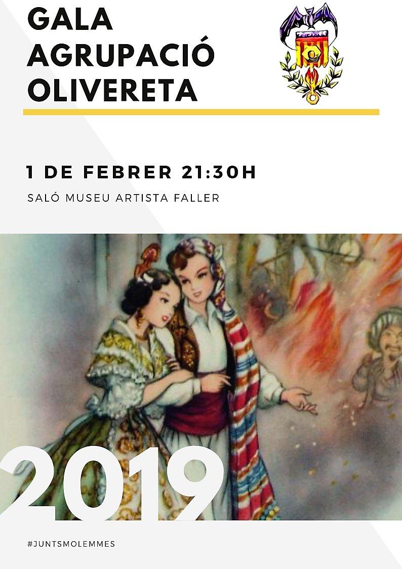 Cartel anunciador de la Gala de la Agrupación Olivereta