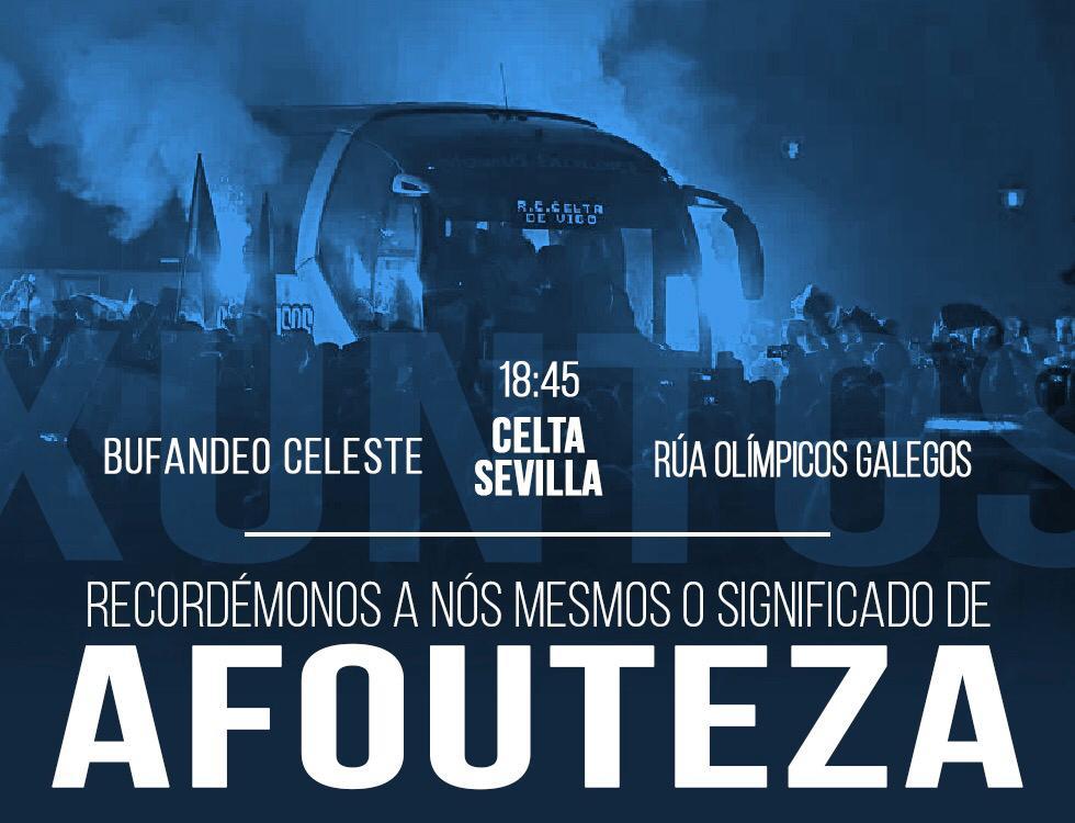 Cartel de las peñas del Celta de cara al partido contra el Sevilla.