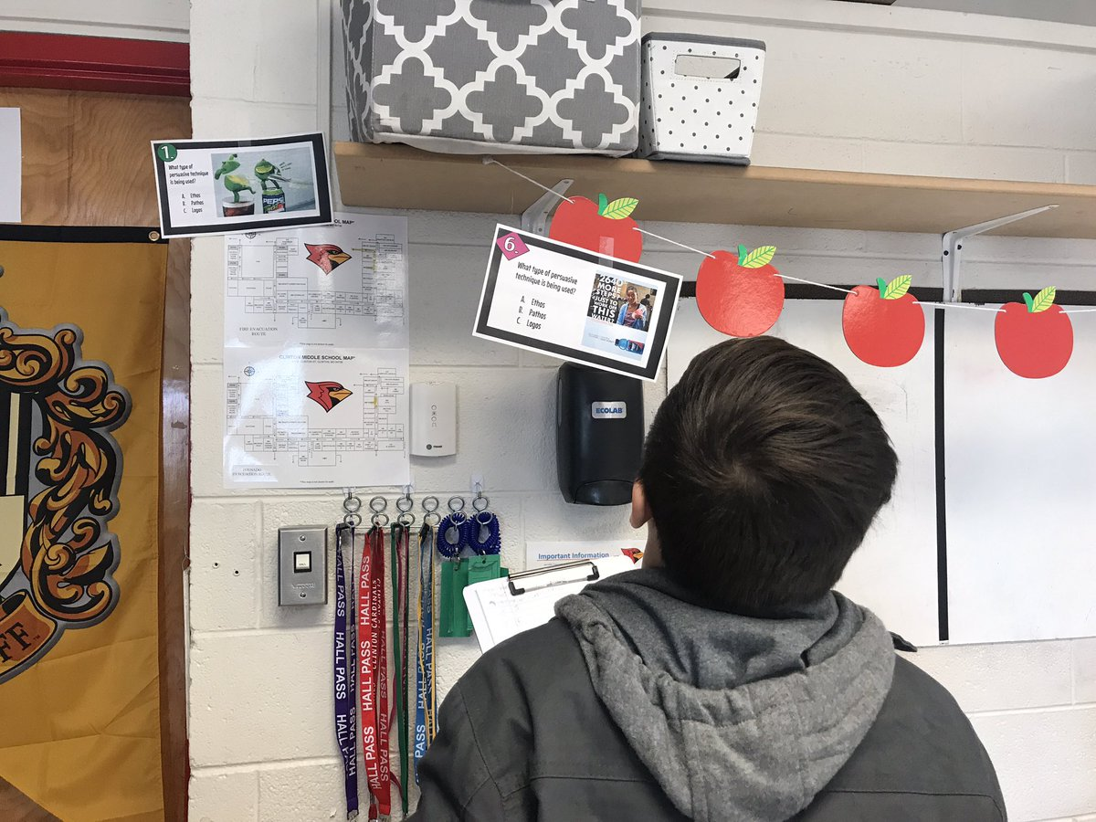 Listening to some piano music and going through centers to review rhetoric devices: Ethos, Pathos, & Logos! We are learning to strengthen our arguments. @CMSCardinals