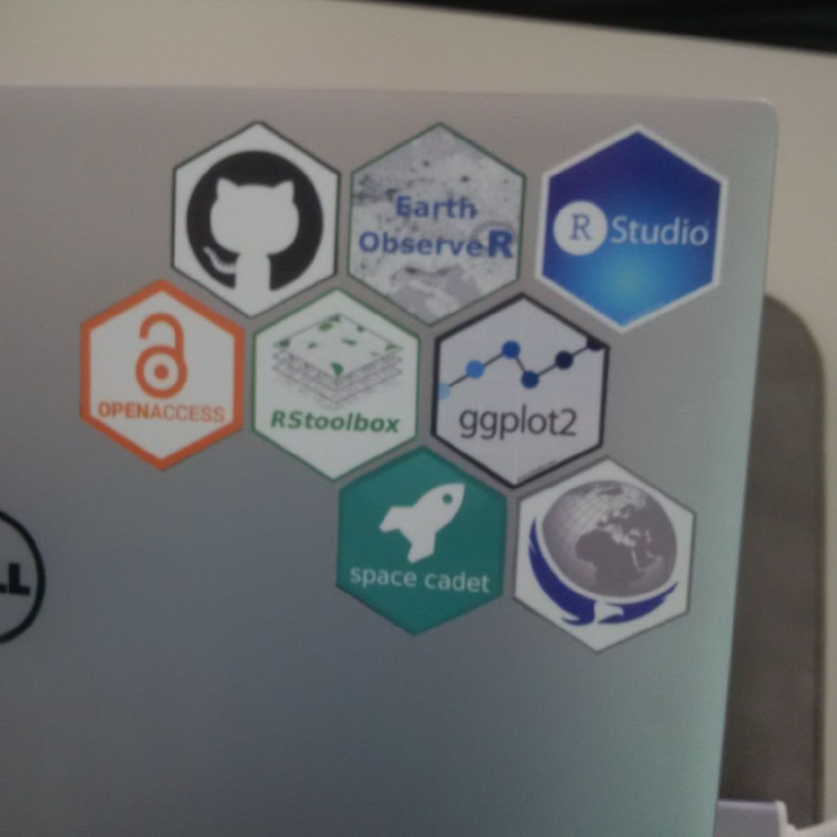 first EAGLE Msc hexagon stickers seen on laptops - fits