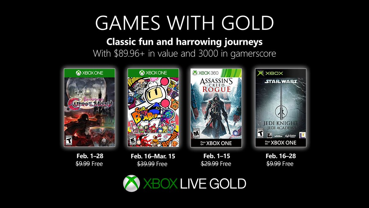 Xbox Live Games with Gold February 2019