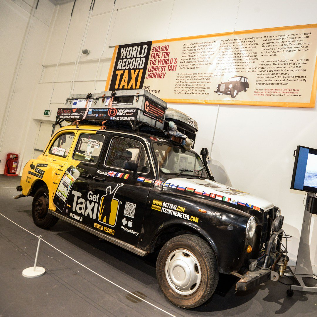 TAXI! See Hannah, the #worldrecordbreaking taxi that drove around the globe.  Find out all about her incredible journey that racked up a metre fare of over £79,000!  http://bit.ly/CovTAXI #CoventryTaxi #Recordbreaking #Blackcab #LondonTaxi