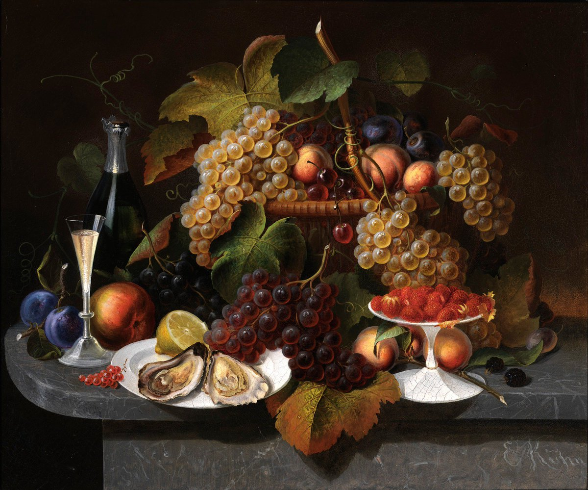"""Hey @NPG we're thinking it's the perfect day to eat lunch in the Kogod Courtyard. Join us? Please? 🥰 (Hope you like grapes...) 🍇🍇🍇🍇🍇🍇 Everhart Kuhn, """"Still Life with Fruit, Oysters, and Wine,"""" ca. 1865 → https://americanart.si.edu/artwork/still-life-fruit-oysters-and-wine-14041… #atSAAM"""