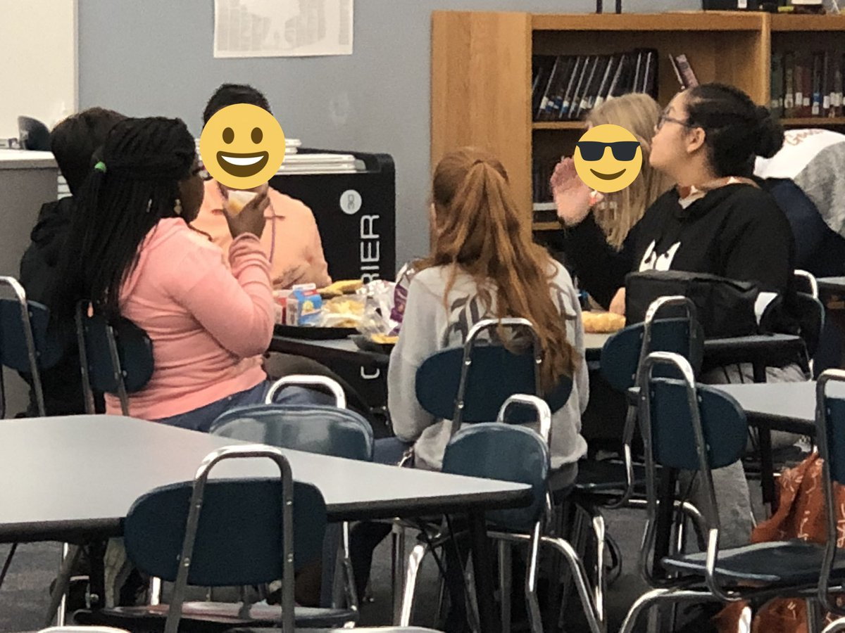 Lunch bunch is discussing making a video for #MediaFair. I hear green screen! @OusleyJH @aisdlibsrv @3dinthelibrary @AISDTI2