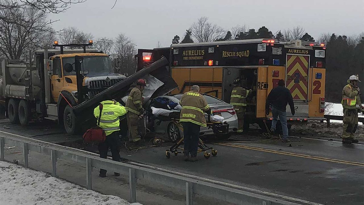 5&20 remains closed after snowplow, passenger vehicle collide; at least one patient airlifted to Upstate Medical