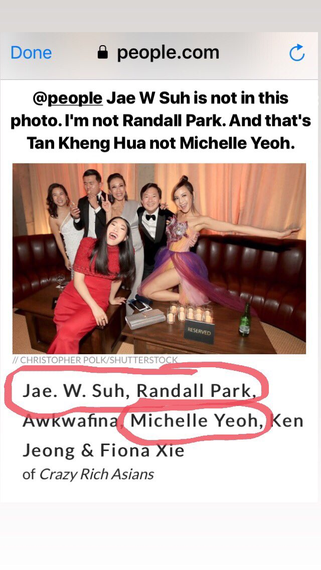 .@people Jae W Suh is not in this photo. I'm not Randall Park. And that's Tan Kheng Hua not Michelle Yeoh.