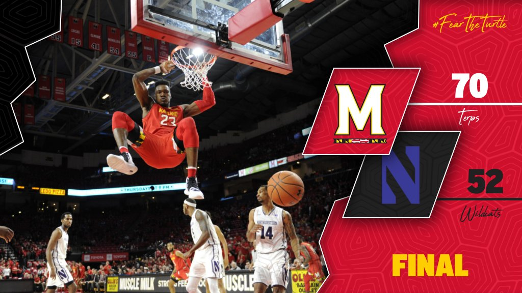 [ FINAL ]   #21 #Terps: 70 Northwestern: 52  #FearTheTurtle