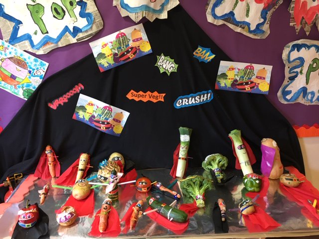Watch out Evil Pea, these super vegetables made by the Reception children will get you...POW!! #evilpea #Reception #superherofun #Supertato
