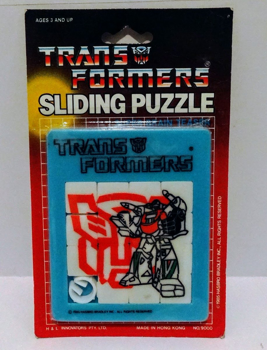 Wheeljack sliding tile puzzles, Hasbro Bradley 1985. Released in Australia and New Zealand. Also produced with yellow background. #transformers #g1transformers #puzzles