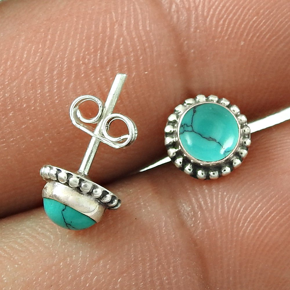 5fc3fd2bb Beautiful Stud earring, hand crafted with natural Round shape Turquoise.  Gift your Girl Friend this beautiful 925 Sterling Silver stud Earrings  @$4.10 ...