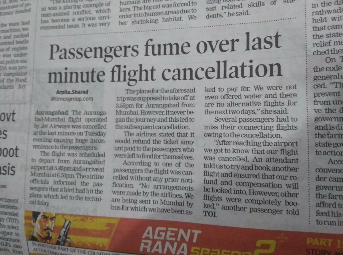 Thank you @timesofindia and @ArpitaSharadToi  for voicing us when no one did. Thank you for raising our concerns out to public because @jetairways  clearly did not care for us.