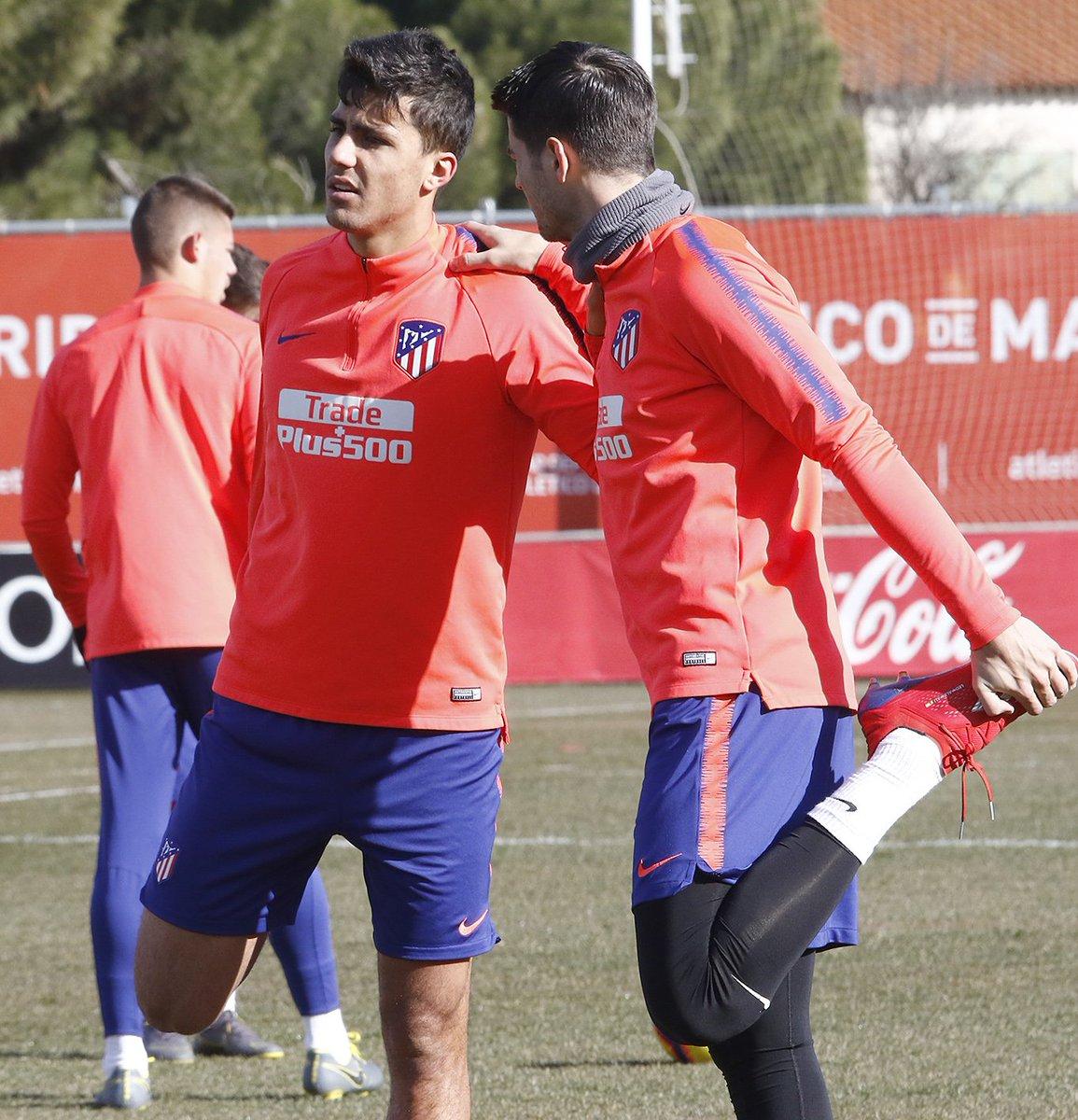 Morata, en un entrenamiento del Atlético.