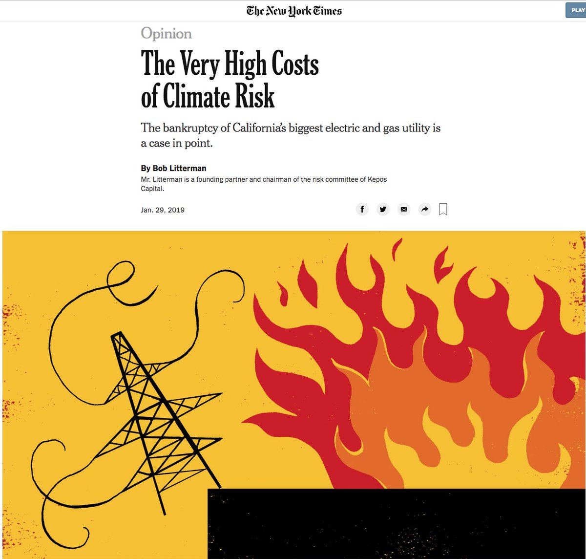 ".@nytopinion   One message of the bankruptcy is that climate change is already creating calamitous conditions. As PG&E put it recently, ""California faces an ever-increasing threat from catastrophic wildfires, extreme weather and higher temperatures."" https://t.co/T4VjWvmdDl"