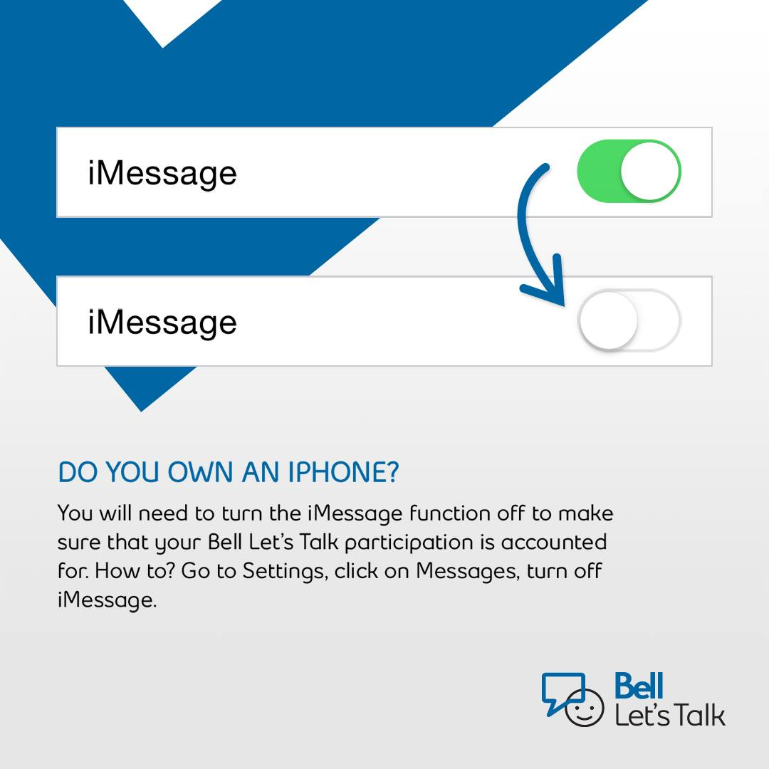 Bell, Bell Aliant & Bell MTS customers: make sure #iMessage is turned off while you text. It's #BellLetsTalk Day! https://t.co/HZfA6xiO4W