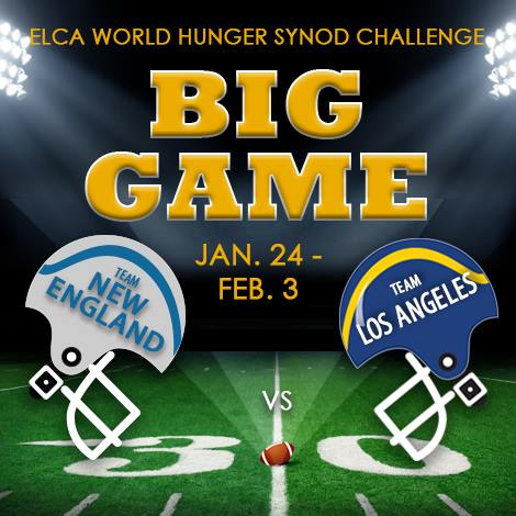 .@SoCalSynod and @NESynod are facing off in the Big Game and competing to be the @ELCAWorldHunger Champion. Visit http://elca.org/biggame to donate in support of your favorite team! 🏈